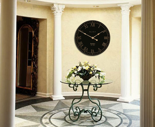 Black / Gold Clock in Foyer