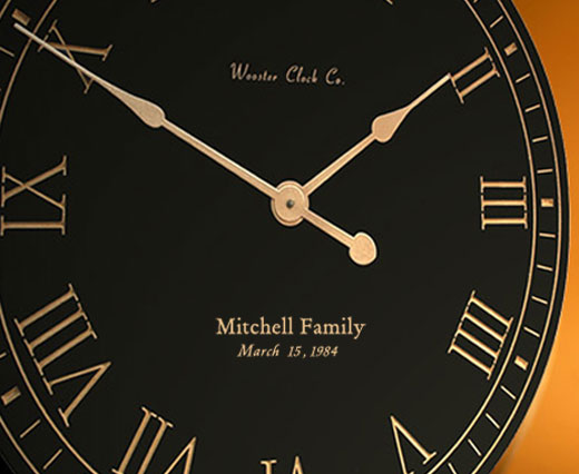 Black / Gold Personalized Clock
