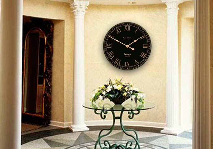 Black and Gold Clock In Foyer Area