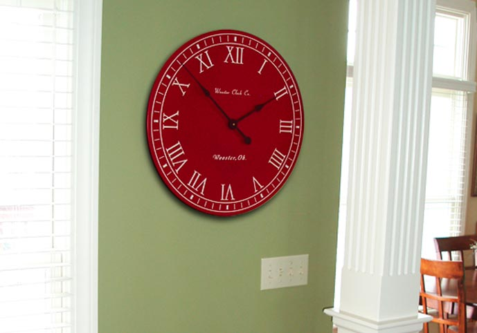 Red white letter series personalized clock