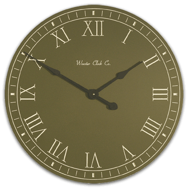 Personalize Green White Letter Series Clock