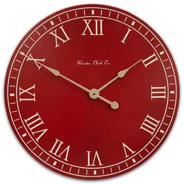 Personalize Red White Letter Series Clock