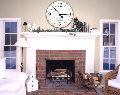 White SD clock above Fireplace