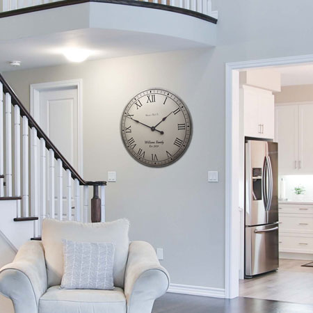 Personalized Gray Antique Clock on Living Room Wall
