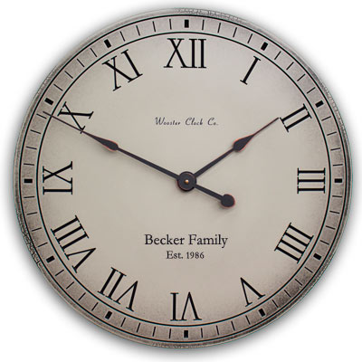 Weathered Gray Antiqued is the Color of this Personalized Clock