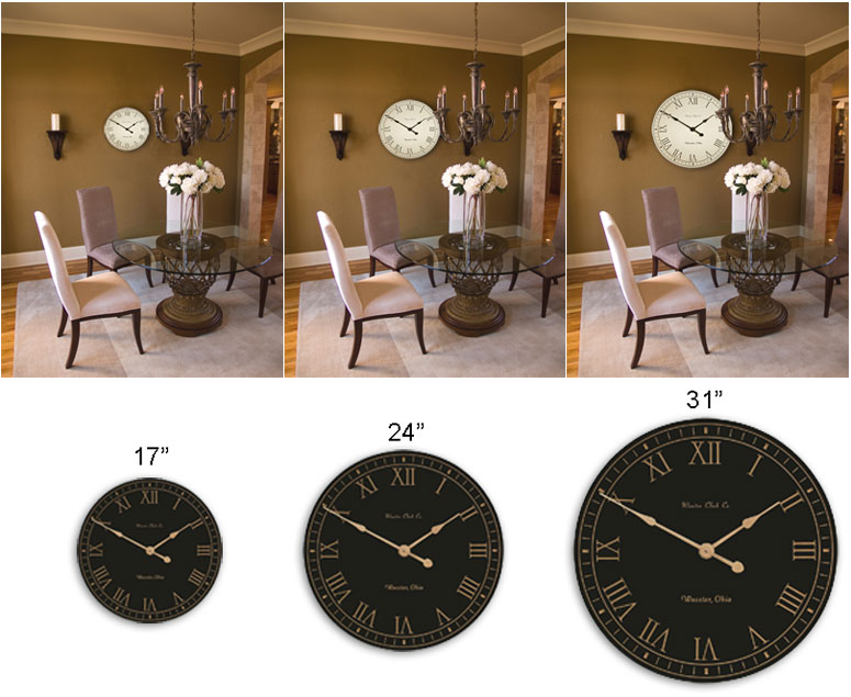3 Sizes of Wall Clocks
