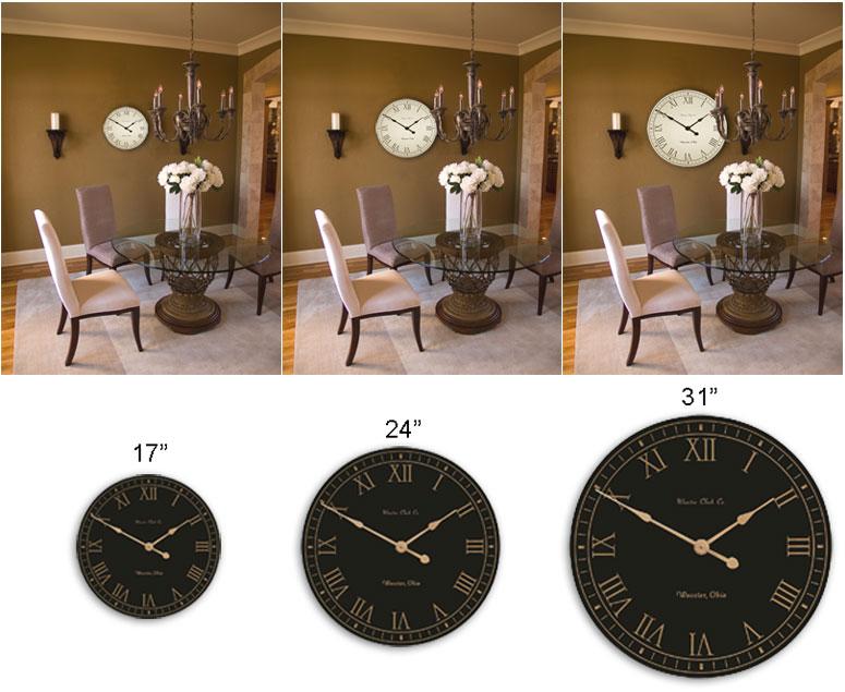Wooster Clock Company Clock Size Comparison